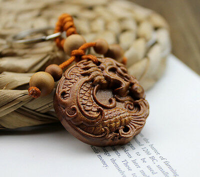 Wood Carving Chinese Dragon Loong Statue Sculpture Amulet Pendant Key Chain