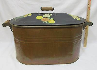 Copper Plated Bath Tub Wash Bin Double Handles & Lid Water Boiler Planter Ash