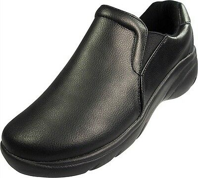 LEATHER NURSING SHOES WITH ANTI SLIP OUTSOLE MEDICAL FOOTWEAR 9112W Wide Sizing