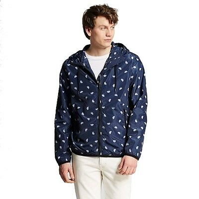 (8) Wholesale NEW With Tags Mossimo Men's Palm Print Windbreaker Jacket - Navy