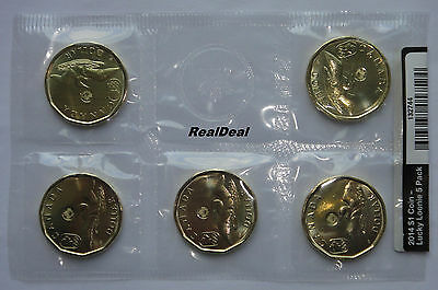 2014 Canada $1 Circulation 5-Pack - Lucky Loonie