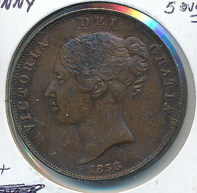 Great Britain 1858 Penny 5 over 7 - VF+