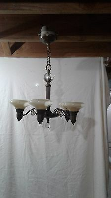antique chandelier, dark bronze 5- light with frosted glass