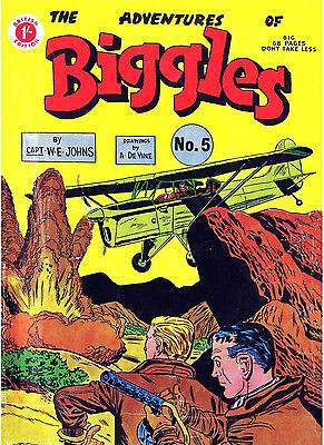 ADVENTURES OF BIGGLES No.5 -  VERY RARE EARLY 68 PAGE 1/-  COMIC Facsimile