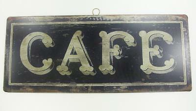 "CAFE French Shabby Distressed Chic Vintage Look 14"" x 5.75"" Tin Sign Wall Decor"