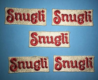 5 Lot Rare Vintage 1980's Snugli Baby Carrier Sew On Tag Patch Crest