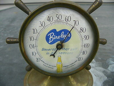 Bireleys Orange Soda Ship Wheel Counter Thermometer Rare!