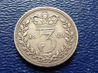 George Iiii Silver Maundy Threepence 1828 Great Britain Uk