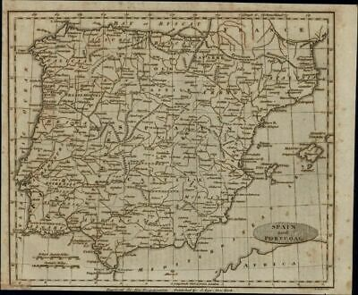 Spain Portugal c.1800-10 by Alex. Anderson early scarce American engraved map