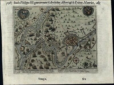 Bommel Holland Netherlands 80 Years War Spain armies 1616 old antique map