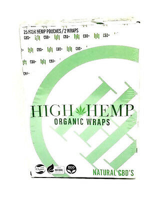 High Hemp Organic Wraps 25 Packs (box) 2 Wraps ea GMO Tobacco Free Vegan