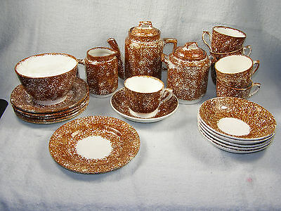22 Piece Antique Staffordshire Brown Sponge Ware CHILDREN'S TEA SET