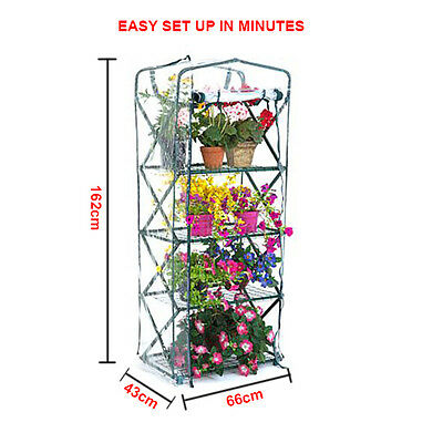 4 Tier Portable Greenhouse Garden with PVC Cover - EASY SETUP LIFT & LOCK