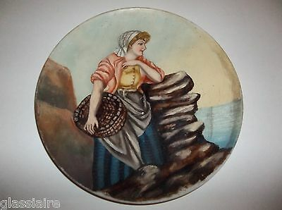 "Antique Mt Washington Glass PORTRAIT Plate 12.5"" Hand Painted Woman With Basket"