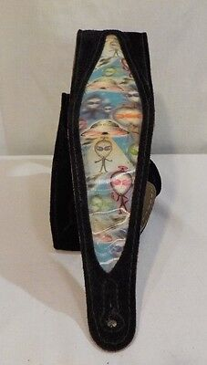 "Levy's Alien Hologram Leather Bass Electric Guitar Strap 3 1/2"" Black"