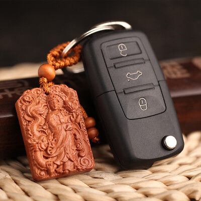 Buddha Kwan Yin Dragon Rose Wood Carving Chinese Pendant Key Chain Keyring Craft