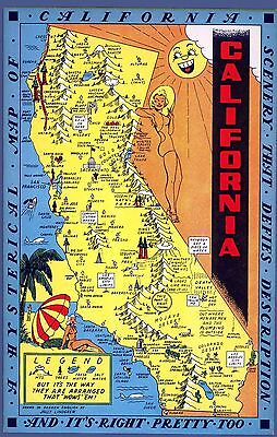 California Hysterical 1948 Pictorial Map comic vignettes POSTER 11100