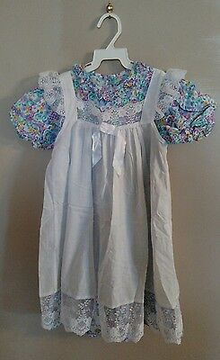 Vintage Prairie Multicolored Floral Dress with White Lace Pinafore Girl's 5T
