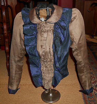 Victorian Ladies Blue-Gray Silk Bodice Ca 1890's