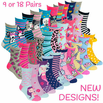 9 or 18 Pairs Kids Girls Ankle Socks Cotton Character Crew School Design Unicorn