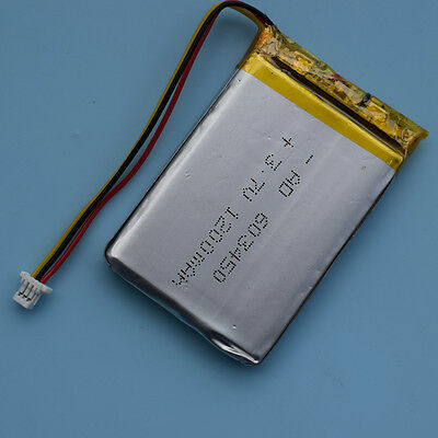 3.7V 1200mAh 603450 Li-Polymer Rechargeable Battery 3Pin with Connector for GPS