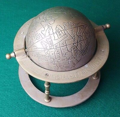 "ANTIQUE - SOLID BRASS - ROTATING - WORLD GLOBE - IN STAND - 7"" x 7"" - 1.4KG RARE"