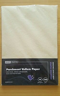 SOHO Creative A4 100 gsm Parchment Paper - Vellum (Pack of 25 Sheets)