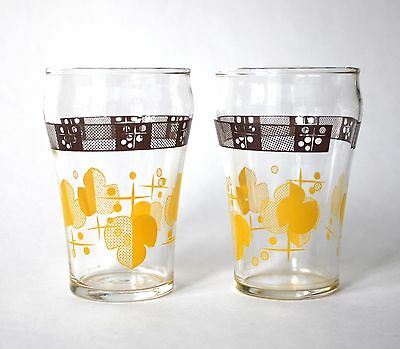 2 Vintage Mid Century Modern Swanky Swigs Juice Glasses Brown Yellow Set Atomic