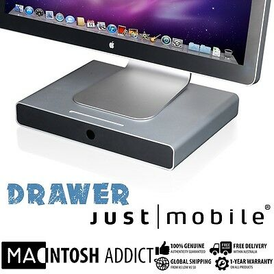 Just Mobile Aluminium Desktop Drawer Monitor Stand + Storage Tray For iMac & PC