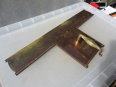 Large Antique Brass Lever Door Handle Finger Push Plate Art Nouveau Victorian