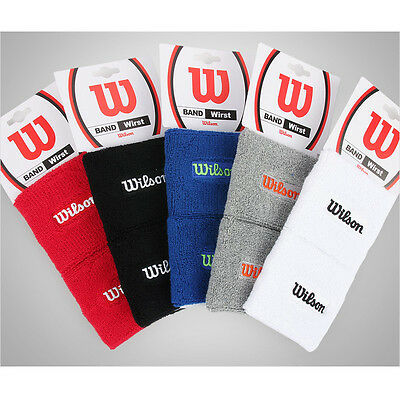 Wilson Premium Double Wrist Band One Pair Sweatband Black White Red Blue Gray