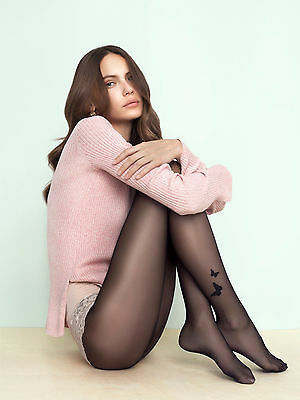 Fiore Butterfly Ankle Motif Pattern Sheer Tights 20 Denier available to Size 5XL