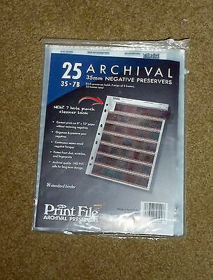 Print File Archival Storage Sheets 35-7B25 for 35mm Film Negatives 7 Strips 25