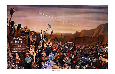 Dave Mann Ed Roth Studios Print Poster Motorcycle Booze Run Chopper