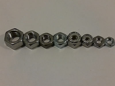 """Unf Stainless Steel A2 And Zinc Nuts Nyloc 3/16"""" (10-32) 1/4"""" 5/16""""  3/8"""""""