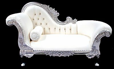 Small Hampshire Chaise Longue Sofa Silver Leaf White Faux Leather Crystals