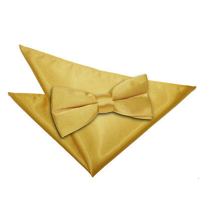 Dqt Mens High Quality Pre Tied Bow Tie & Hanky Wedding Set - Gold