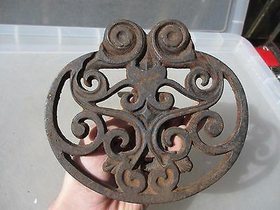 Victorian Cast Iron Fireside Trivet Kettle Stand Gilt Leaf Antique Old Spirals