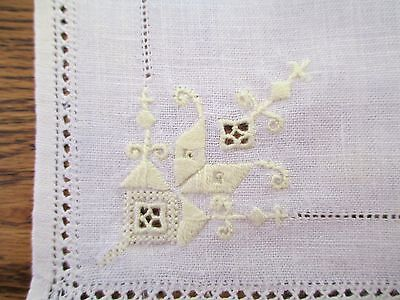 White Linen Madeira Hand Embroidered Yellow 3 Placemats / Napkins Set Fancy VTG