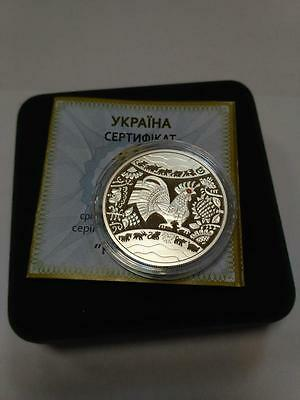 """Ukraine 5 UAH Lunar """"Year of the Rooster"""" Coin ,2017 year,Silver,NEW"""