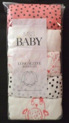 12-18 Months Baby Girl 5 Pack Long Sleeve Bodysuits New Marks & Spencer Pink