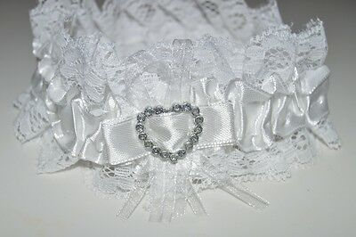 NEW Off white ribbon and lace with bling silver heart wedding bride garter