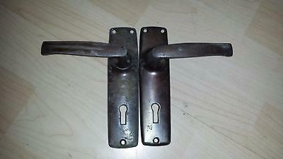 2 Vintage ALUMINIUM LEVER LATCH HANDLE SET Internal Door Knob Catch Latch Brown