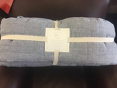 Pottery Barn Kids REMY Belgian Quilted Linen Nursery Crib Baby Bumper Blue