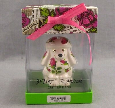 "Betsey Johnson Critter Bank NEW Poodle Dog MIB 3"" Floral Porcelain Signed White"
