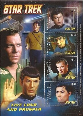 Antigua - 2008 Star Trek Live Long & Prosper - 4 Stamp Sheet - 1N-018