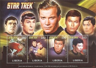 Liberia - 2009 Star Trek Kirk Spock McCoy - 4 Stamp Sheet - 12A-070