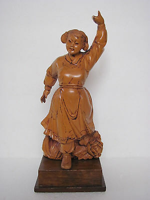 Fine Chinese Culture Revolution Period Boxwood carved Dance Girl Statue 9''