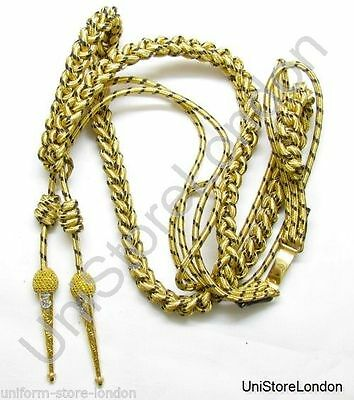 Aiguillette Gold & Navy Blue Wire Cord With Naval Tages R1025