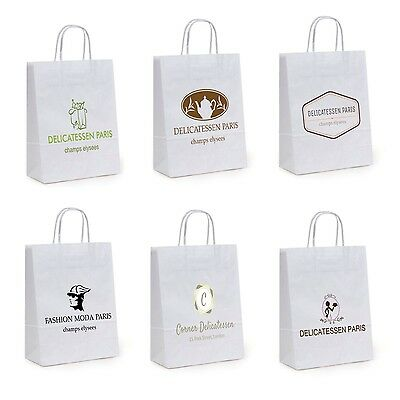 * 250 x CUSTOM PRINTED WHITE KRAFT PAPER CARRIER BAGS * FREE DELIVERY *